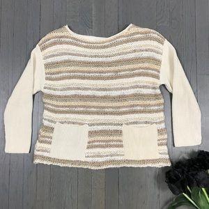 relais Boatneck 3/4 Sleeve Knit Pocket Sweater
